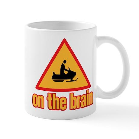 Warning Snowmobile on the Brain Mug