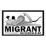 Migrant Foam Worker Rectangle Sticker