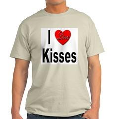 I Love Kisses (Front) Ash Grey T-Shirt