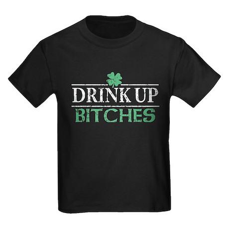 Drink Up Bitches St Patricks Day Kids Dark T-Shirt