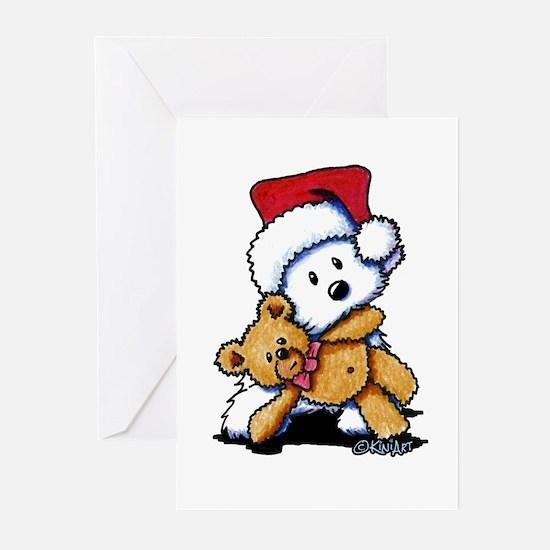 Christmas Teddy Bear Westie Greeting Cards (Pk of
