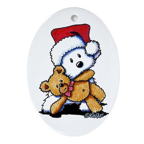 Christmas Teddy Bear Westie Ornament (Oval)