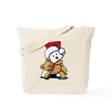 Christmas Teddy Bear Westie Tote Bag