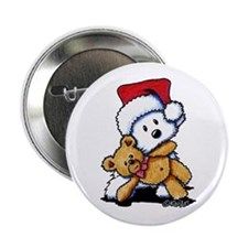 "Christmas Teddy Bear Westie 2.25"" Button"