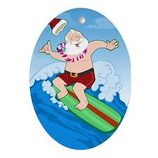 Surfing Santa Oval Ornament