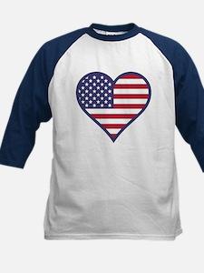 American Flag Heart Kids Baseball Jersey