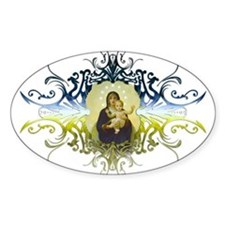 """Holy Mary, Mother of God"" Oval Decal"