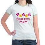 Cute First Time Mom Jr. Ringer T-Shirt