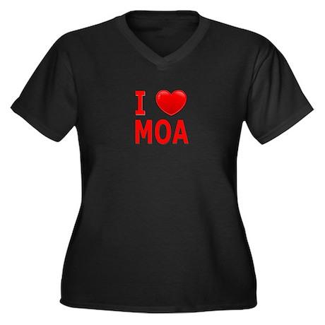 I Love MOA Women's Plus Size V-Neck Dark T-Shirt