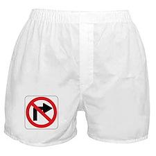 No Right Turn Sign Boxer Shorts