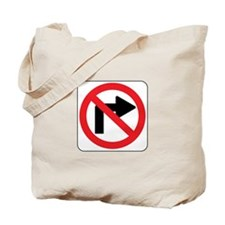 No Right Turn Sign Tote Bag