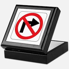 No Right Turn Sign Keepsake Box