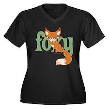 Foxy Red Women's Plus Size V-Neck Dark T-Shirt