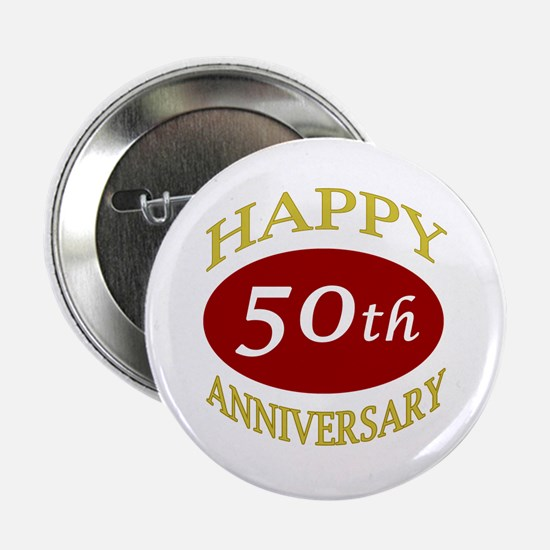 """Happy 50th Anniversary 2.25"""" Button"""
