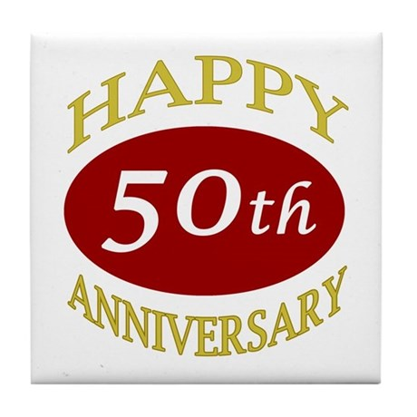 Happy 50th Anniversary Tile Coaster