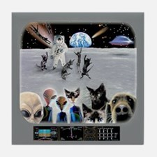 Cat Moon Party Tile Coaster