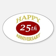 Happy 25th Anniversary Oval Decal