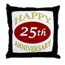 Happy 25th Anniversary Throw Pillow
