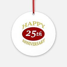 Happy 25th Anniversary Ornament (Round)
