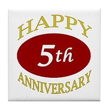 Happy 5th Anniversary Tile Coaster