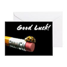 Good Luck Ladybug on a Pencil Greeting Card