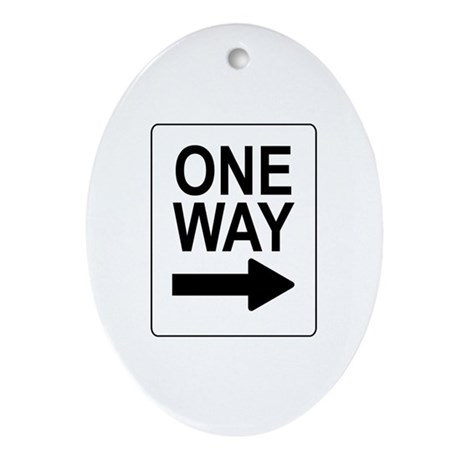 One Way 2 Sign Oval Ornament