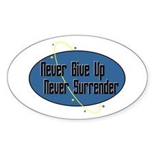 Never Surrender Oval Stickers