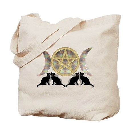 Cats Pentagram Triple Goddess Tote Bag