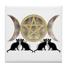 Cats Pentagram Triple Goddess Tile Coaster