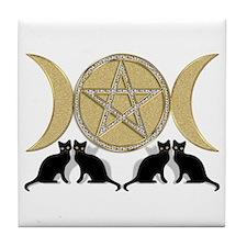 Diamond Pentagram Cats Tile Coaster