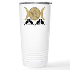 Diamond Pentagram Cats Travel Mug