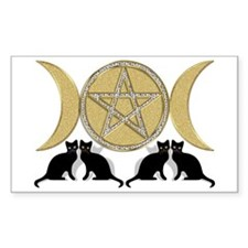 Diamond Pentagram Cats Rectangle Decal