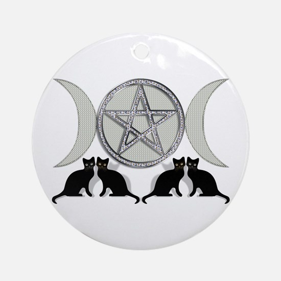 Silver Diamond Pentagram Ornament (Round)