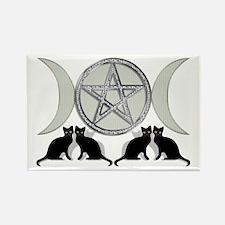 Silver Diamond Pentagram Rectangle Magnet (10 pack