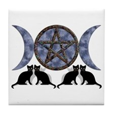 Mystic Blue Pentagram Tile Coaster