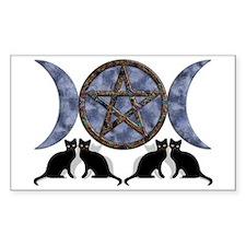 Mystic Blue Pentagram Rectangle Stickers