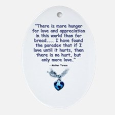 Mother Teresa Love Oval Ornament