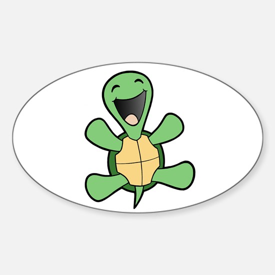 Happy Turtle Oval Decal