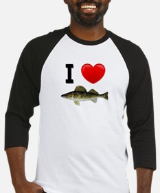 I Love Walleye Baseball Jersey