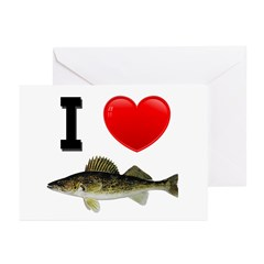I Love Walleye Greeting Cards (Pk of 20)