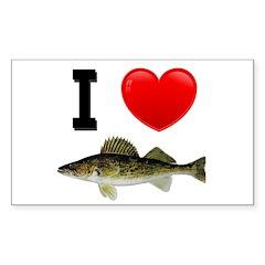 I Love Walleye Rectangle Sticker 10 pk)
