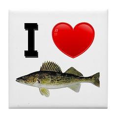 I Love Walleye Tile Coaster