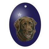 Chocolate lab Oval Ornaments