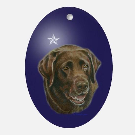 Chocolate Lab Star Oval Ornament