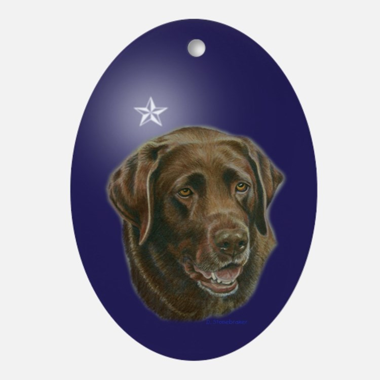 Chocolate Lab Star Oval Ornament