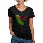 California Italian Women's V-Neck Dark T-Shirt