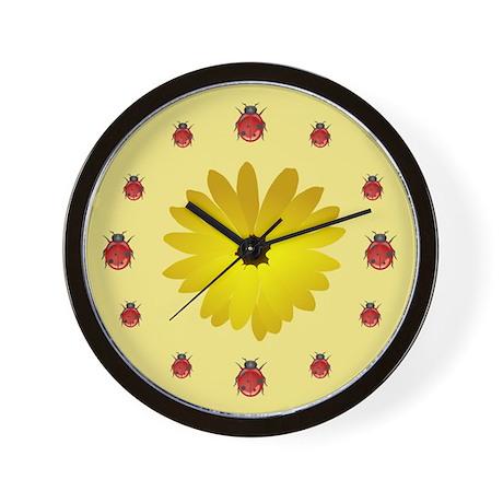 Ladybugs In Line Wall Clock