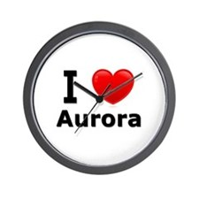 I Love Aurora Wall Clock