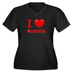 I Love Aurora Women's Plus Size V-Neck Dark T-Shir
