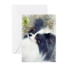 Papillon with Black Ears Greeting Cards (Pk of 10)